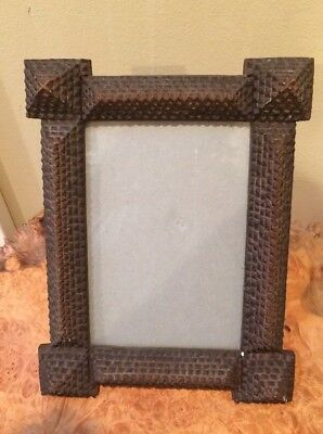 Vintage Tramp Art Mission Arts and Crafts Style Photo Frame