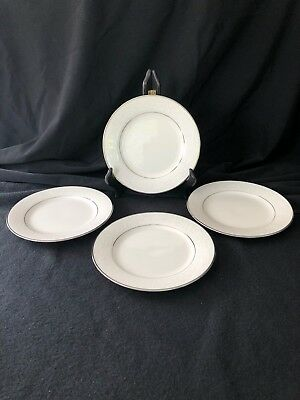 Lot of 4 Noritake Ivory Platinum 7550 Marseille Bread & Butter Plates 6 1/4""