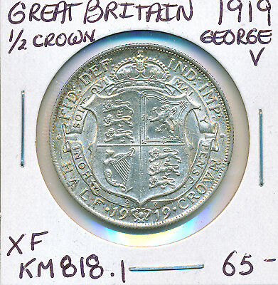 Great Britain Half Crown George V 1919 Km818.1 - Xf