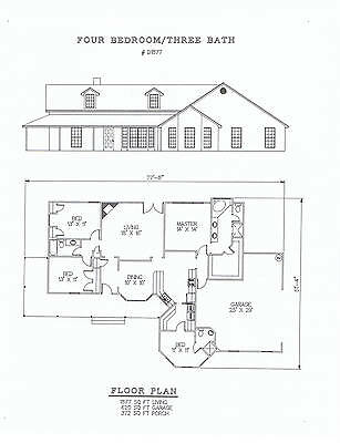1877 square foot four bedroom house plan