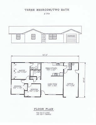 1154 square foot three bedroom house plan
