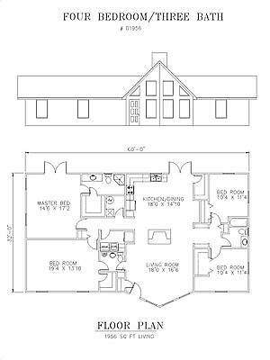 1956 square foot four bedroom house plan
