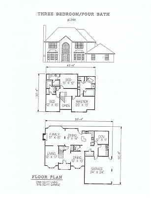 3188 square foot three bedroom house plan