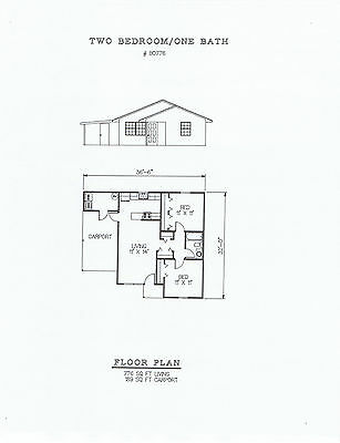 776 square foot two bedroom house plan