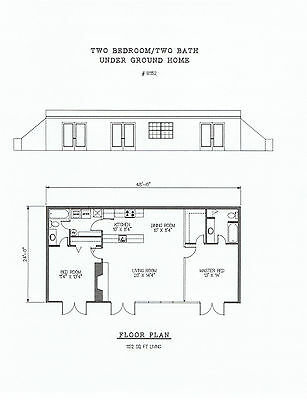 1152 square foot underground two bedroom house plan