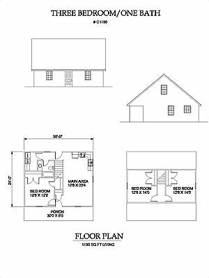 1190 square foot three bedroom house plan