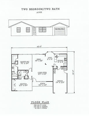 1158 square foot two bedroom house plan