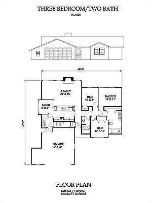 1386 square foot three bedroom house plan