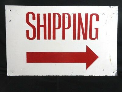 """Vintage SHIPPING Hand Painted GALVANIZED TIN SIGN 24"""" x 15"""" RED & WHITE"""