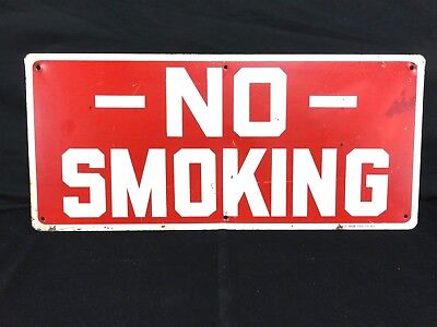 """Vintage NO SMOKING Painted Sign READY MADE SIGN CO. NY. 20"""" x 9"""" Red & White"""