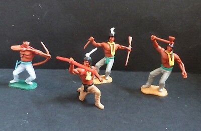 TIMPO WILD WEST INDIANS X4 TOY SOLDIERS * SWOPPET * VINTAGE 1970s RARE
