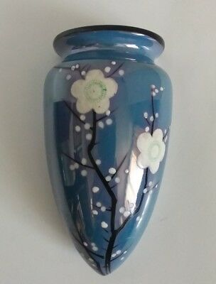 Made in JAPAN china WALL POCKET VASE Lusterware Cherry Blossoms