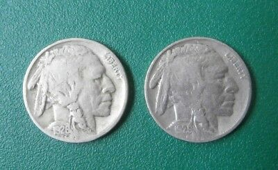 2pc lot BUFFALO NICKELS 1926 and 1929  VG