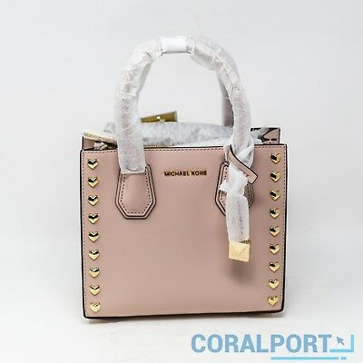 13c5e002ec0b NEW MICHAEL KORS Mercer Medium Heart Smooth Messenger Bag Soft Pink ...