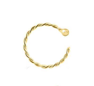 Sterling Silver 925 Twisted Gold Plated Helix Tragus Conch Nose Ring 20G 10MM