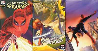 AMAZING SPIDERMAN 1 vol 5 2018 ALEX ROSS SDCC VIRGIN VARIANT 3 PACK SET NM