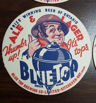 Blue Top Brewing Co Ale Lager Beer Coasters Thumbs Up! Lot of 4 Vintage