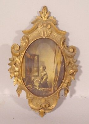 """Antique Carved Wood Gold Picture Frame Swiss 9"""""""