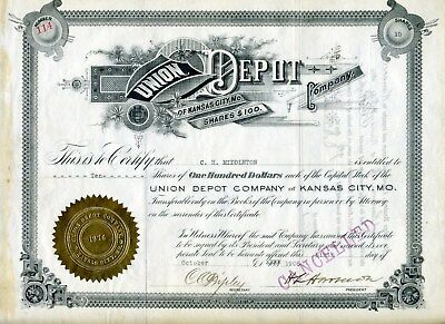 1908 Union Depot Stock Certificate (Issued) Kansas City Missouri  Ch Middleton