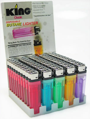 KING Classic - 40 Lighters - Disposable Butane Fire Adjustable Assorted Colors