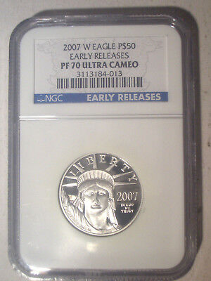 2007-W $50 PLATINUM NGC PR70 PF70 Ultra Cameo EARLY Releases Proof EAGLE $1,500+