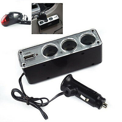 3 Way Multi Socket Car Cigarette Lighter Splitter USB Plug Charger DC 12V/2 Nice