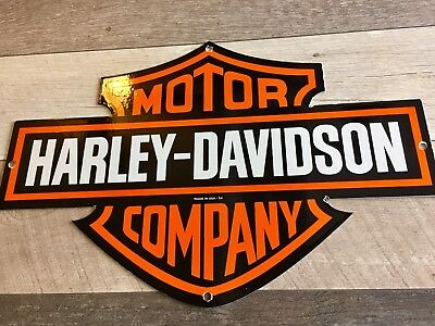 """HARLEY DAVIDSON MOTORCYCLE Company DOUBLE SIDED PORCELAIN DEALERSHIP SIGN 24""""x16"""
