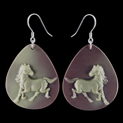 Carved Horse Silver Earring EB900014