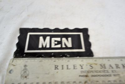 "Antique Art Deco Reverse Painted Scalloped Glass ""men"" Restroom Sign No Holder"
