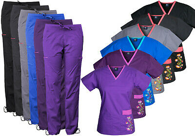 5c000870c62 Medgear Women's Stretch Scrubs with Embroidery Scrubs Set Medical Uniform  7902
