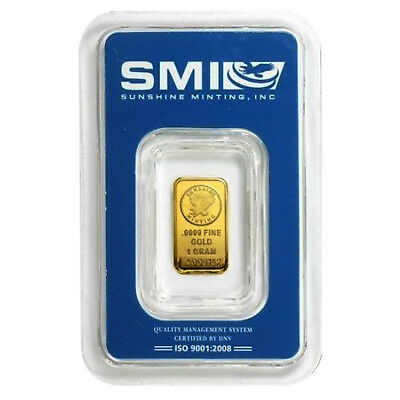 1 Gram .9999 Gold Bar - Sunshine Minting In Assay Card
