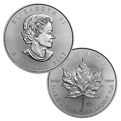 2017 $5 Canadian Maple Leaf - 1 Troy Ounce .9999 Silver BU