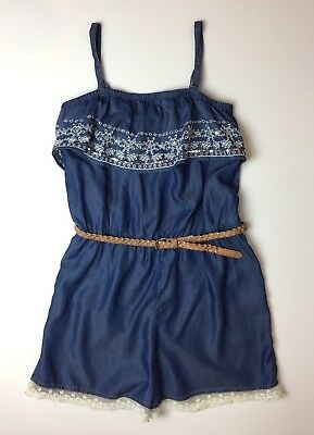 Justice Girls Chambray Blue Denim Lace Romper Shorts Jumper NEW Sz 16~Nice!