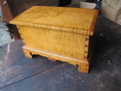 Tiger Maple Minature Dovetailed Blanket Box Trunk