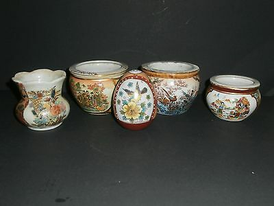 Vintage Lot Of Miniature Japanese Satsuma Pottery Fish Bowls & An Egg