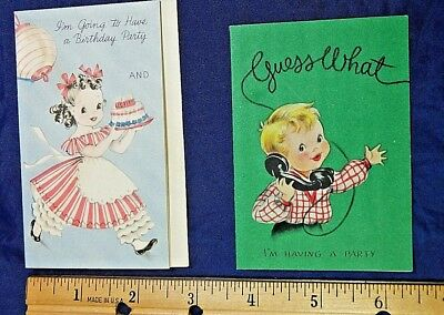 """2 Used Vintage Greeting Cards,1943/1959 """"I'M HAVING A PARTY"""""""