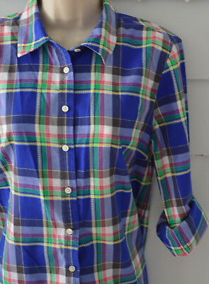 82532fc29fe5b7 TALBOTS Button Down Shirt Small S Plaid Blue Green Blogger Fave Blouse Top  L/S