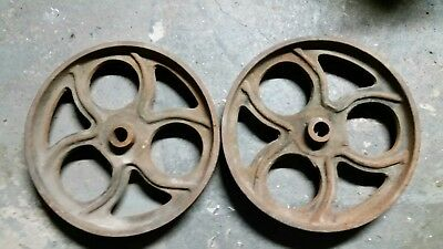 """Antique 12 """" Pair Cast Iron Utility Cart Wheels Industrial Steampunk Lineberry?"""