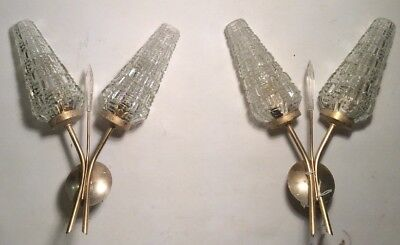 RARE Pair of Vintage FRENCH ART DECO Double Glass Shade Sconces Lamps Geometric