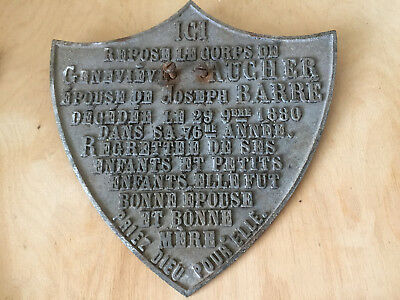 Large Antique French Cast Iron Memorial Plaque Dated 1880 ~ Shield Shape