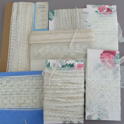 """Lot Slender Antique French LACE Trims Valenciennes 3/16"""" - 1 3/4"""" 40+ Yds * DOLL"""
