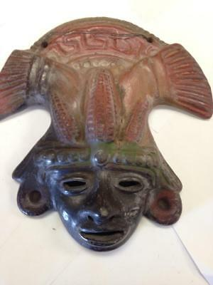 "Mayan Mask 9"" Wall Hanging Rustic Terra Cotta Clay Pottery Mask from Mexico"