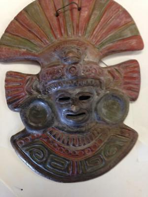 "Mayan Mask 10"" Wall Hanging Rustic Terra Cotta Clay Pottery Mask from Mexico"