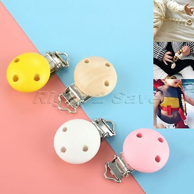 5/10/50/100pcs Wooden Baby Pacifier Clips 3 Hole Infant Soother Clasps 4 Colour