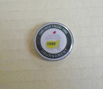 1 only NICK FALDO TRIPLE US MASTERS WINNER GOLF BALL MARKER - TRIBUTE to Wins