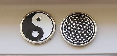 1 only YIN YANG SILVER  GOLF BALL MARKER approx 23mm