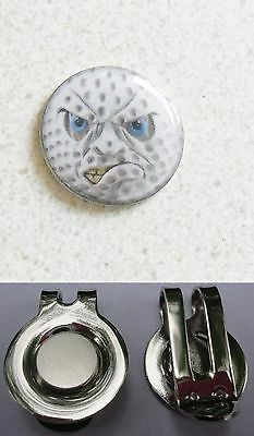 1 ONLY ANGRY FACE  GOLF BALL MARKER 25mm & HAT CLIP