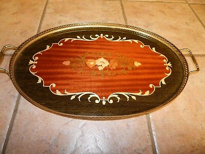 Vtg Italian Sorrento Inlaid Wood Marquetry Oval Lg Serving Tray