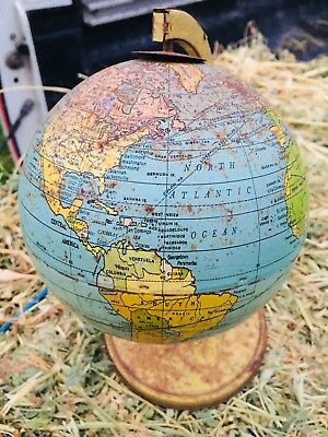 Vintage Tin World Globe by J Chein & Co. Made in USA contains Central Australia.