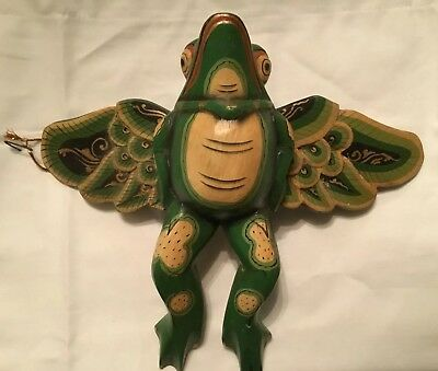 Vintage Flying Frog Toad Mobile Ornament hand carved wood Balinese Folk Art 8""